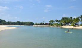Tanjong beach, Sentosa island, Singapore. View on Tanjong beach. 3 August, 2014,SENTOSA ISLAND, REPUBLIC OF SINGAPORE Stock Images