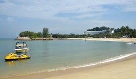 Tanjong beach, Sentosa island, Singapore. View on Tanjong beach. 3 August, 2014,SENTOSA ISLAND, REPUBLIC OF SINGAPORE Royalty Free Stock Photos