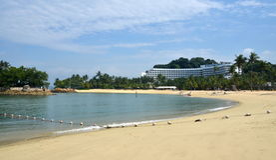Tanjong beach, Sentosa island, Singapore. View on Tanjong beach. 3 August, 2014,SENTOSA ISLAND, REPUBLIC OF SINGAPORE Royalty Free Stock Image