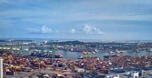 Tanjong Pagar container terminal port. Busy port at south central coast of Singapore overlooking Brani island Stock Images