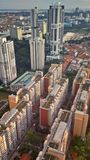 Tanjong Pagar mixed development. Aerial view of public housing and commercial buildings in Singapore downtown Stock Photos