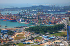 Tanjong Pagar. SINGAPORE-JAN 19:Aerial view of Tanjong Pagar container terminal in SINGAPORE on Jan 19, 2011.Tanjong Pagar container terminal is one of busiest royalty free stock photos