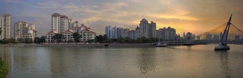 Tanjong Rhu Residential District Sunset. Tanjong Rhu Residential Housing District with Outdoors Park Bridge Sunset Over Kallang Basin in Singapore Panorama Stock Photo