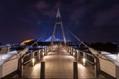 Tanjong Rhu zawieszenia most przy nocą Zdjęcia Stock