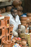 Tanjore - Selling terracotta pots - India Stock Images