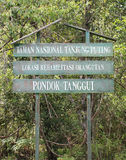 Tanjung Puting park in Indonesia. Welcome sign in Tanjung Puting park in Indonesia (Borneo royalty free stock photo