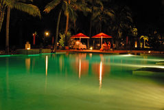 Tanjung Rhu Beach, Langkawi in Malaysia. Romantic dinner by a pool Royalty Free Stock Photos