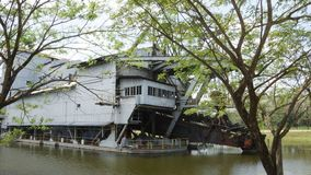Tanjung Tualang abandoned silver mining dredge during British colonial stock photo