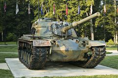 Tank. Surrounnded by state flags in a veterans memorial park Royalty Free Stock Photos