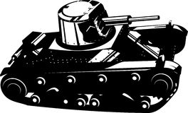 Tank. Vector art of a Battle tank black and white Stock Image