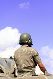 On a tank. Soldier on an army tank Stock Photos