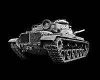 Tank. Army tank on a black background Stock Photography