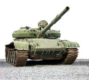 A tank. A green military tank isolated on a white background Royalty Free Stock Photo