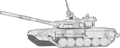 Tank. Vector black and white illustration of a modern heavy tank Stock Photography