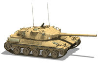 Tank. Computer image, military tank 3D, isolated white background Royalty Free Stock Photos