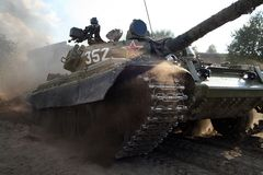 Tank. T - 55, russian tank in action Royalty Free Stock Image