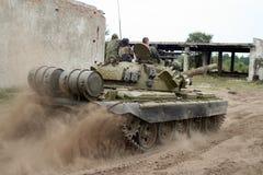 Tank. T - 55 soviet tank in action Stock Image