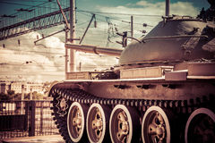 Tank in action. Tank in action with wires in background. Concept of war and conflict Royalty Free Stock Photography