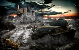 Tank attack captured area Royalty Free Stock Photography