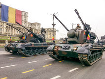 Tank battalion at Romania national day Stock Photos