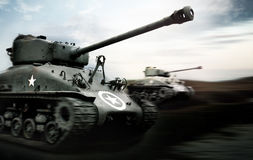 Tank Battle. Photo of a Tank Battle in Normandy Royalty Free Stock Images