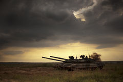Tank. Battle tank at an army training ground Royalty Free Stock Image