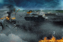 Tank battle in the burned-out field Stock Photography