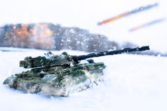 Tank battle in snowstorm Royalty Free Stock Image