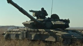 Tank on the battlefield. Military armored vehicles training stock video footage