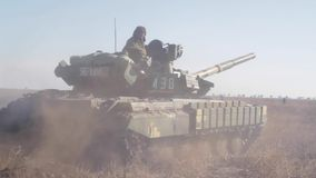 Tank on the battlefield. Military armored vehicles training stock footage