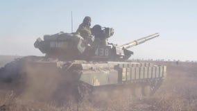 Tank on the battlefield stock footage