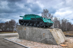 Tank become monument, former war machine stands at pedestal Stock Photography