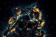 Tank blazing fire. Military conflict. Heavy armament Royalty Free Stock Photography