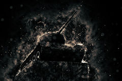 Tank blazing fire. Military conflict. Heavy armament Royalty Free Stock Images