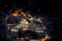Tank blazing fire. Military conflict. Heavy armament Stock Photos
