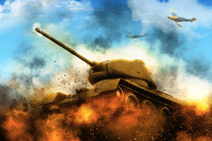 The tank in the blazing fire Stock Images