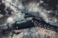 Tank in broken fragments. Military conflict. Heavy armament Stock Photos