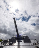 Tank cannon over cloudy sky. In the memorial day Royalty Free Stock Photos
