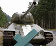 Tank cannon used during the war for the defence of the seats by Royalty Free Stock Photography