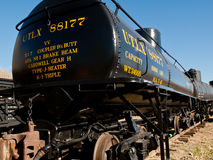 Tank Car. Denver, Colorado-November 29, 2011: This tank car carried crude oil from the oil fields of Farmington and Chama, New mexico to refineries in Alamosa Stock Image