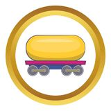 Tank car for gasoline icon. In golden circle, cartoon style isolated on white background vector illustration