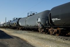 Tank Cars. Railroad tank cars Royalty Free Stock Photo
