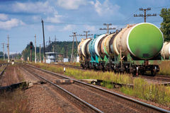 Tank cars on cargo railway station Stock Images