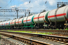 Tank cars with oil stock photo