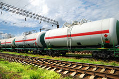 Tank cars with oil Royalty Free Stock Images