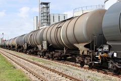Tank cars. At oil depot Stock Photo