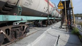 Tank cars at oil depot. Stock. Cars with fuel on the rails at the tank farm.  stock video footage