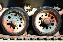 Tank Caterpillar Tread with Wheels Stock Photo