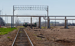 Tank chemicals are on the railway tracks Stock Photos