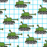 Tank childs drawing in notebook seamless pattern. 23 February Ba. Ckground.  Fighting war machine texture. Background for 23 February. Holiday of military in Royalty Free Stock Photos
